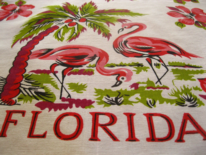 Vintage Florida Souvenir Tea Toweling Fabric Pink Flamingos