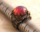 King's Crown with Dragon's Breath Art Glass Jewel - Filigree Ring by Lorelei Designs
