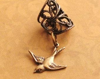 Lilting - Filigree Ear Cuff - Soaring Swallow Earcuff by Lorelei Designs