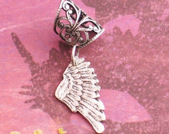 Rustic Wing - Silver Filigree Ear Cuff - Hammered Wing Earcuff by Lorelei Designs