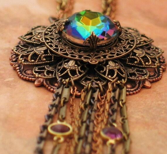 FABULOUS Vintage Vitrail Jewel Necklace by Lorelei Designs - Eye of the Dragon