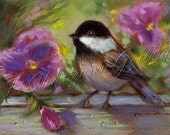 Chickadee - Pansies Pansy ACEO - Great Thoughtful Gift Idea - Chickadee Decor