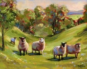 Fear Not Little Flock - Folk Art - Pastoral Sheep Scene Art Print