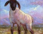 Spring Lamb Sheep Country Utah Original Folk Art Painting - FREE Shipping in US