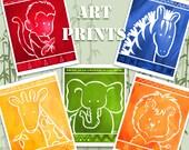 NEW COLORS - African Jungle Safari Zoo Animals Art Prints for Nursery Kids Children Set of 5 Fine Art Prints