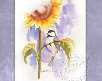 Sunflower - Chickadee Original Watercolor Painting - Wall Art - Plus Custom Matting