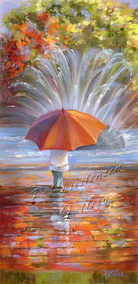Autumn Umbrella Fall Rain Seattle Orig. Painting