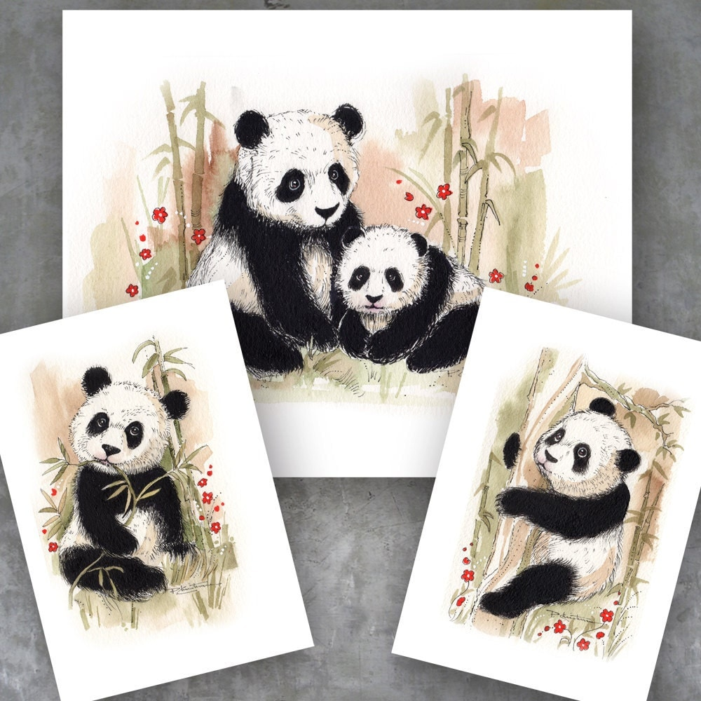 Panda bear collector home decor art prints tropical china for Bear home decorations
