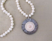 Lustrous Antique Button and  Pearl Necklace