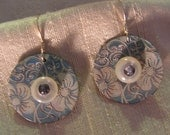 Floral Etched Light Blue Bull's Eye Earrings
