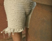 Organic Baby Bloomers with Raw Linen Ties -  Eco Friendly Hand Knit Photo Prop - Crochet
