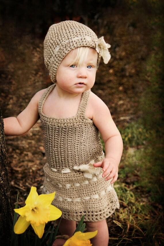 Baby Dress - knit baby dress - organic linen baby dress - baby photo prop - knit easter dress - oatmeal linen baby dress - knit baby jumper