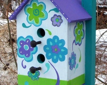 Sale thru  this weekend Whimsical Daisy Flowers Original Retro Large Outdoor Birdhouse