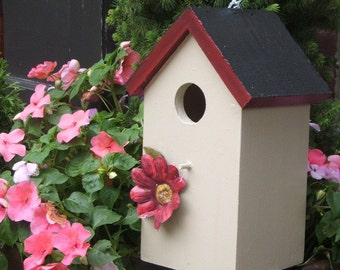 Beige and Burgandy Birdhouse Functional Recycled Art