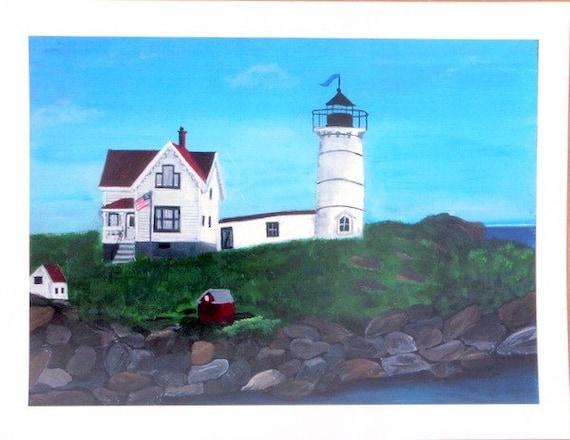 Nubble Light York Maine Folk Art Print 8 by 10