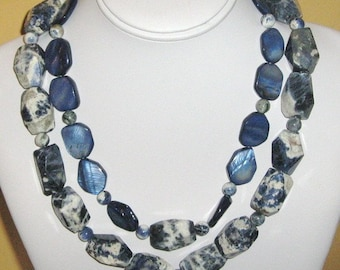 Big Chunky Sodalite and Mother of Pearl Necklace