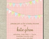 pink banners invitation (baby shower, bridal shower, birthday party)