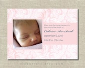 pink damask photo birth announcement or shower invitation