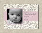 lavender floral birth announcement or shower invitation