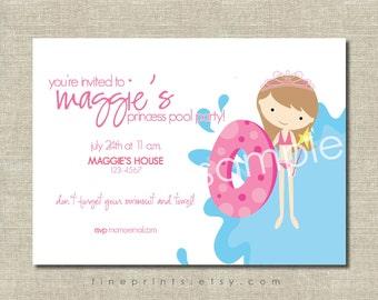 princess pool party/splash party invitation