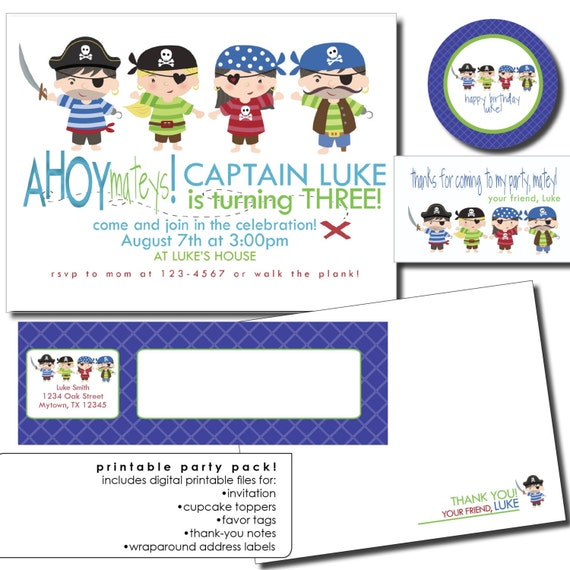 pirate printable party package including pirate invitation