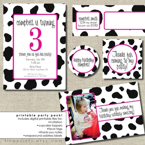 party package for any design in the shop . . . . you print (cow party package sample)