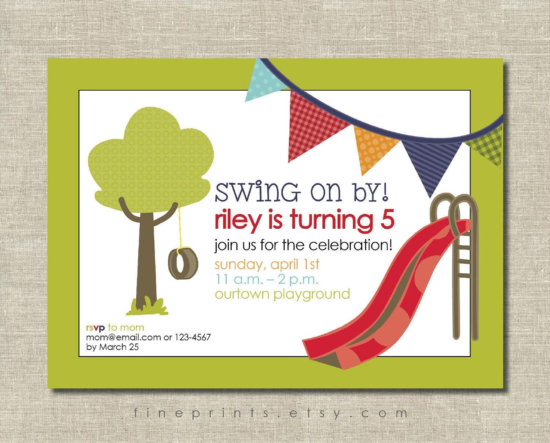 Birthday Decorations Etsy Image Inspiration of Cake and Birthday – Playground Birthday Invitations