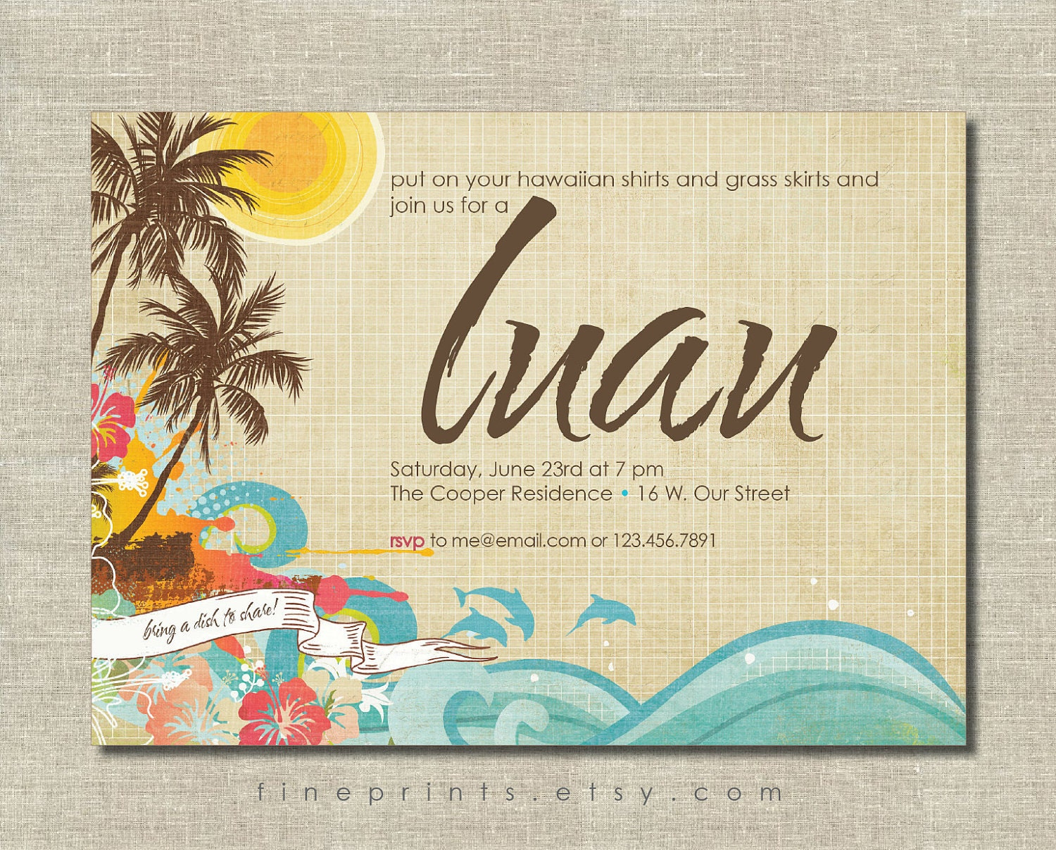 Luau invitation by fineprints on etsy