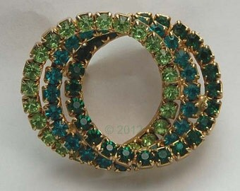 Vintage Green Teal Rhinestone Intertwined Circles Brooch Pin