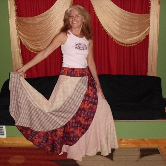 Hippie SwirL and TwirL Long Spinner Skirt Bohemian Design in Vintage Autumn Earth Tones