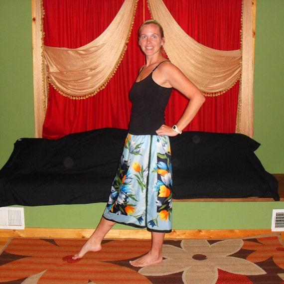 Hippie Short Vintage Silk Scarf Skirt Fun in Flowers