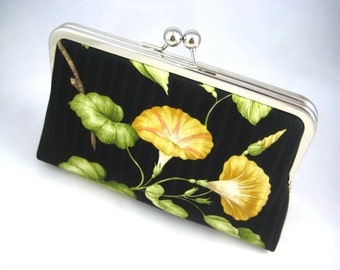 Yellow Flowers - Silk Lined Clutch Bag