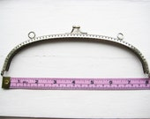 20cm/8inch silver purse frame with embossing  (checker board pattern) and sew holes - 2000-001-S