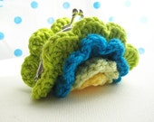Cute small multi-coloured colourful Crochet Ruffle Coin Purse with kiss lock snap frame - yellow, soft lime, peacock, lime (yellow green)