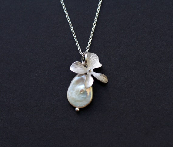 Orchid Flower And White Pearl Sterling Silver Necklace