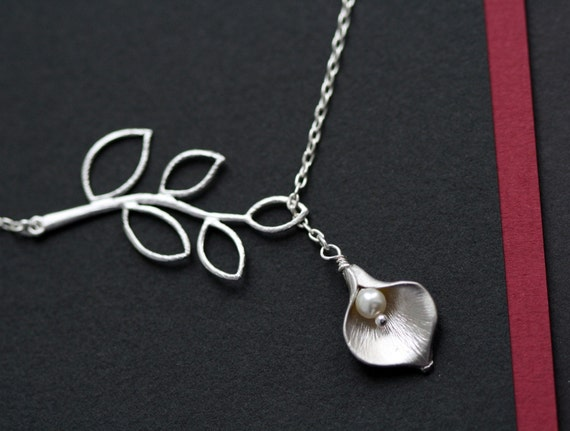 Branch and Calla Lily Necklace