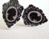 Framed Silhouette Shrinky Dink Stud Earrings