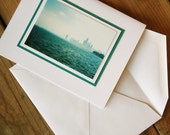 Teal Chicago set of 2 blank note cards