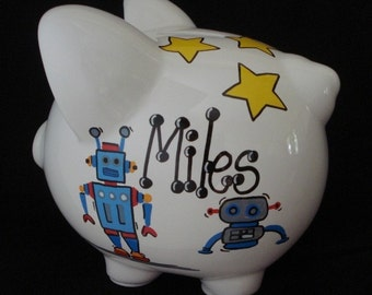 Rocket and space personalized piggy bank - Rocket piggy bank ...