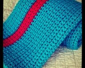 Turquoise and Red Single Stripe Crochet Blanket