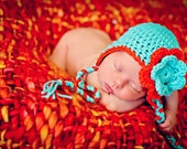 Newborn Flower Earflap Hat  Photo Prop - Turquoise and Orange