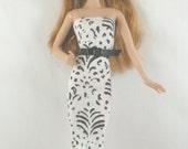 Handmade Barbie Clothes Black White Dress Belt High Style