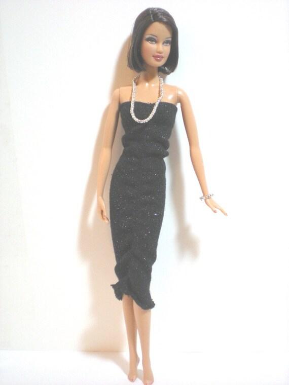 Handmade Barbie Black Evening Dress Necklace Bracelet