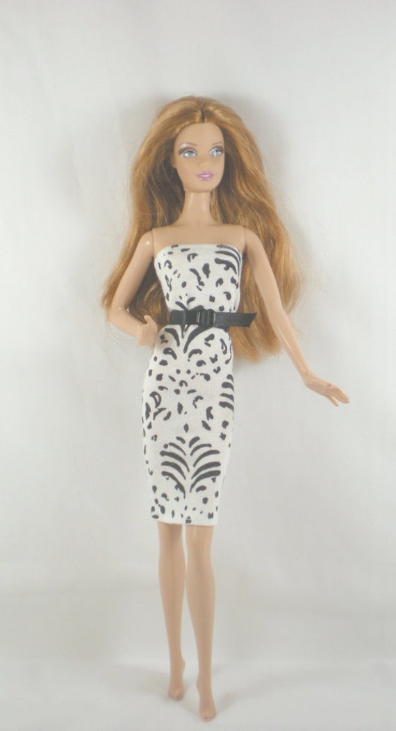 Handmade Barbie Clothes Black White Dress Belt High Style