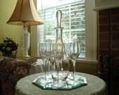 Reserved For LarrysBaby...High Tea...Elegant Tall Aurora Borealis Rainbow Wine Decanter and Six Wine Glasses...Vintage 1980s