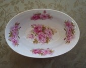 Roses and Victorian Style....Lovely and Chic Vintage Oval Bowl With Fuchsia Pink Roses...QUALITY