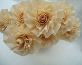 Ready to Ship...Seven Cream Champagne Wedding Crepe Paper Roses...Art Deco Stylized Flowers