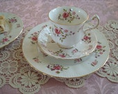 Afternoon Tea...Lovely Vintage Paragon Tea Cup and Saucer Trio...Pink Roses Fragrance Pattern