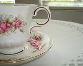 Lovely Vintage Paragon Tea Cup and Saucer...Pink Roses Flower Festival Pattern