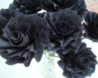 Seven Custom Midnight Black Stylized Art Deco Crepe Paper Roses, 40th Birthday Flowers, Black Roses, Paper Roses,